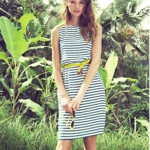 J. Crew Silk Striped Blue and White Dress